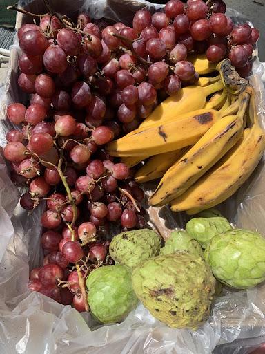 organic seeded grapes , burro bananas, Cherimoya